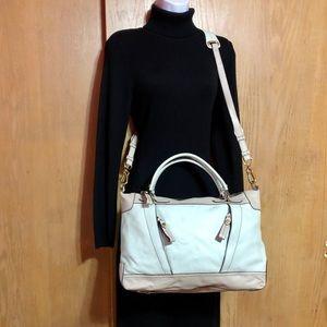 NWT ORYany Blue Beige Leather Large Crossbody Bag